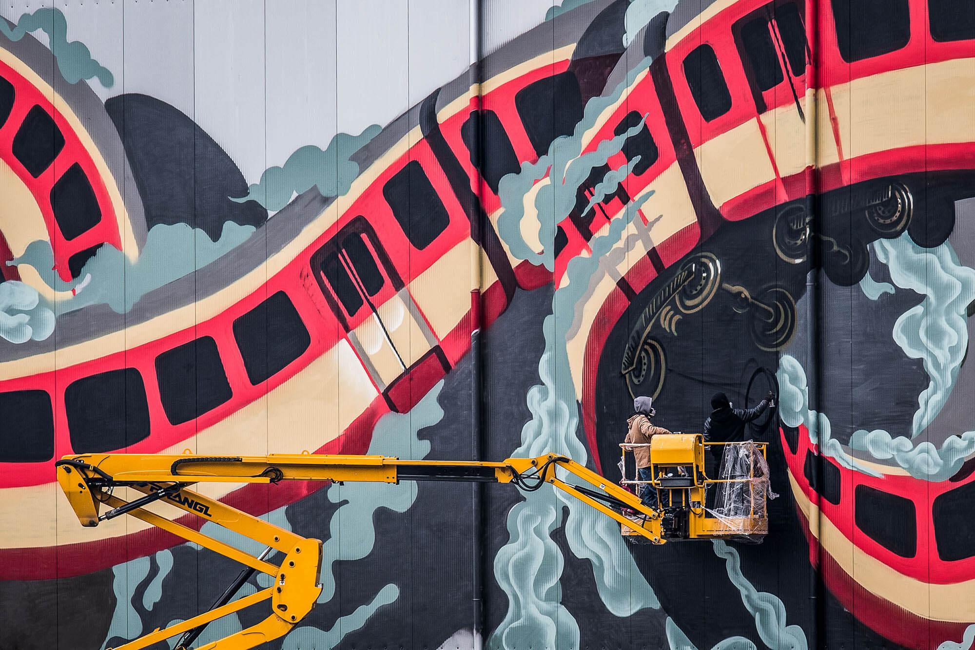 mural harbor graffiti linz the lords crew nychos robotics flap photography fotograf philipp greindl photographer